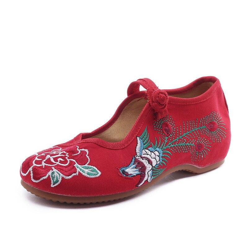 Mujer Ballet Noir Mary Chinois 43 Broderie Jane Plat Pékin Taille Chaussures De Mode Vieux Rose Souple Appartements rouge Phoenix Femmes Zapatos Semelle qFxRZdaY