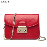 PASTE Famous Designer Brand Bags Women Genuine Leather Chain Solid Shoulder Bag Mini Bags Woman Messenger