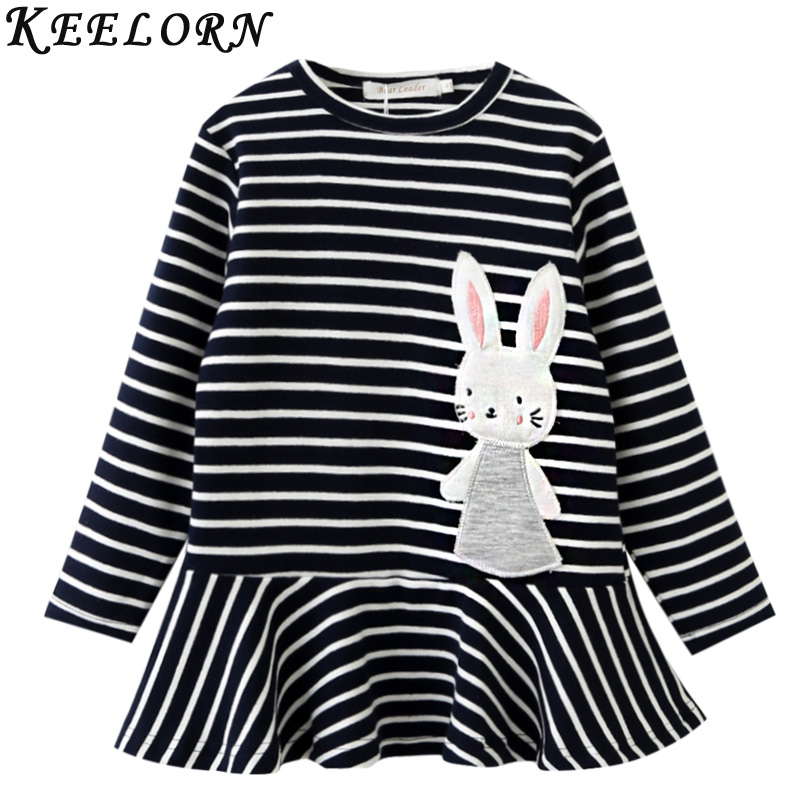 Keelorn Girls Dress Autumn Winter Kids Clothes Stripe Style Children Clothing Cartoon Rabbit Toddler Baby Girls Dress For 3-7Y girls full sleeve dress for autumn and winter children army green dress causal dress for baby kids outfit clothes