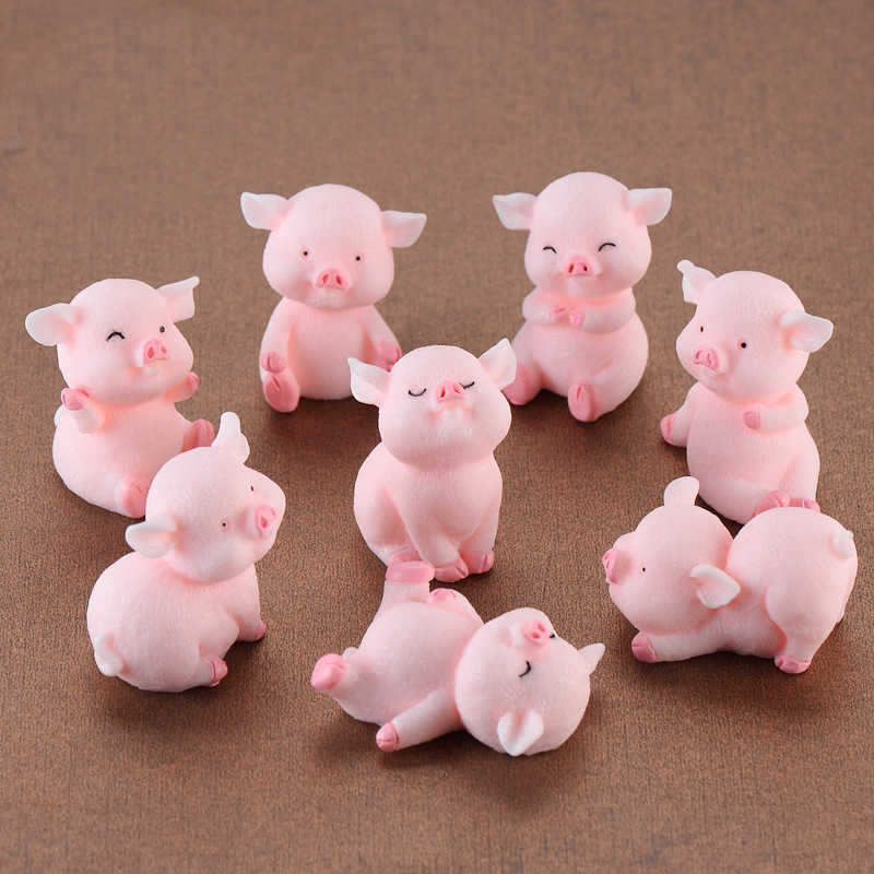 miniature mini Cute pig garden figurines fairy house garden home  office desk decoration modern accessories  resin miniatures