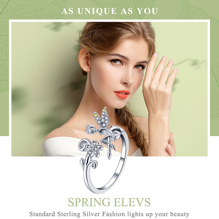 HTB11K30MAvoK1RjSZFwq6AiCFXac BAMOER New Arrival 925 Sterling Silver Fairy & Daisy Flower Open Size Finger Rings Women Wedding Engagement Jewelry BSR025