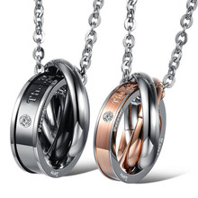 Stainless Steel Macthing Couple Necklaces His & Hers Couples Engraved Double Pendant Necklace Jewelry initial necklace