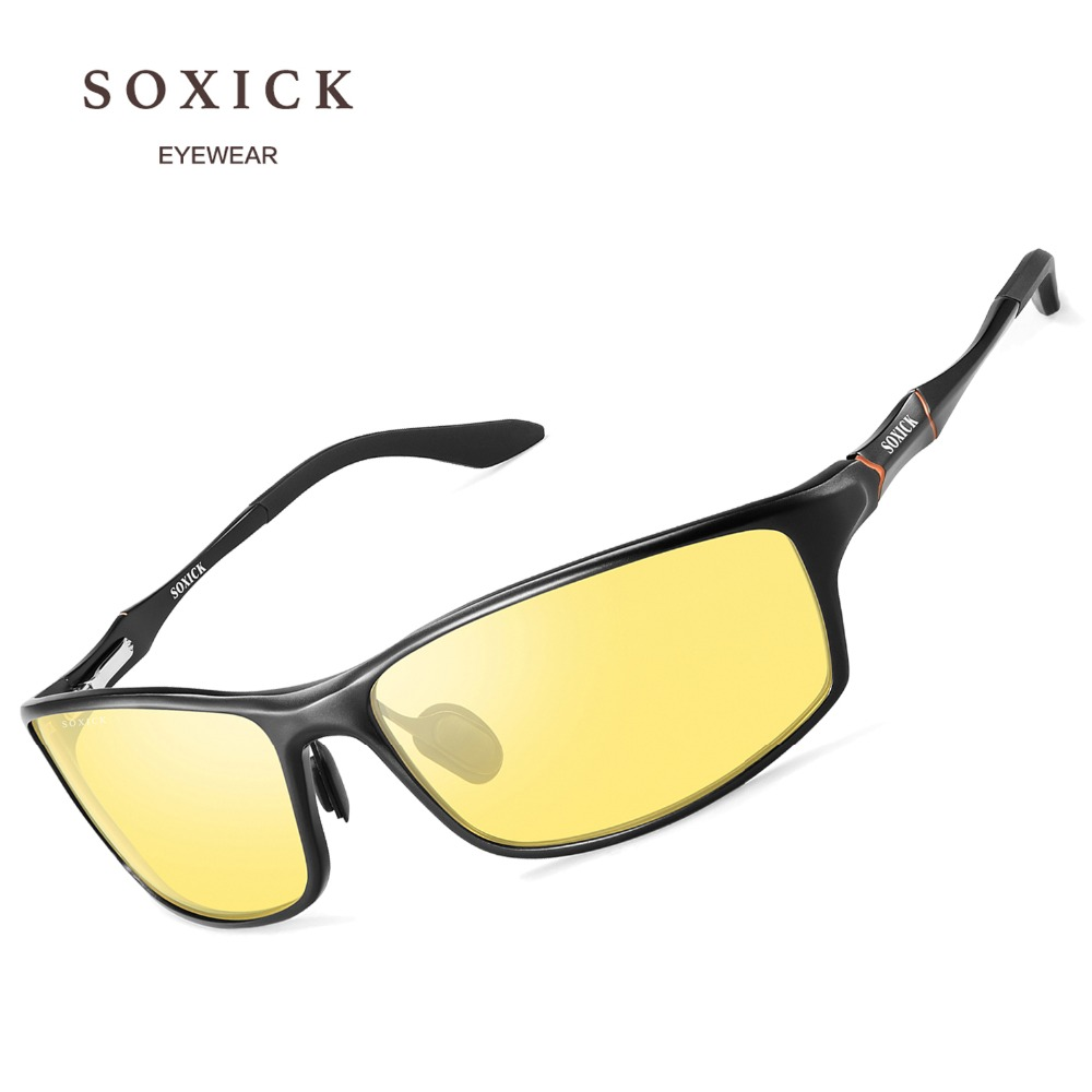 1d223cc36e SOXICK Brand Eyewear Safety Polarized Night Version Sunglasses for Men  Women Yellow Lens Anti Glare Outdoor Sports Sun Glasses-in Sunglasses from  Apparel ...