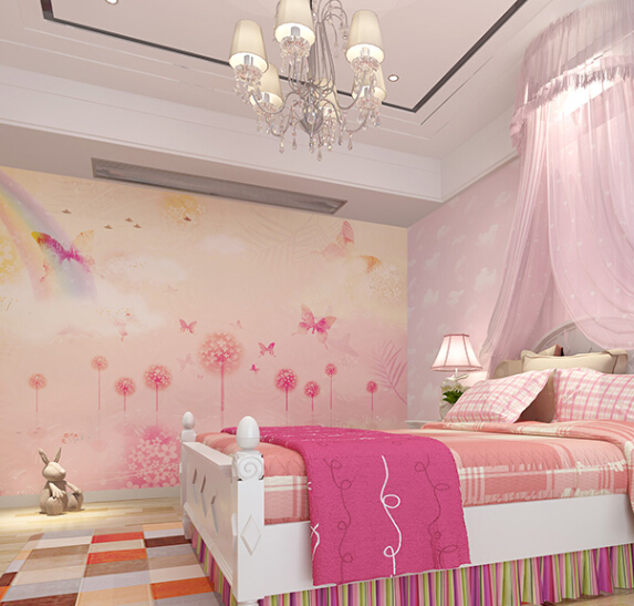 Custom mural wallpaper for home decor boys and girls kids for Girls murals