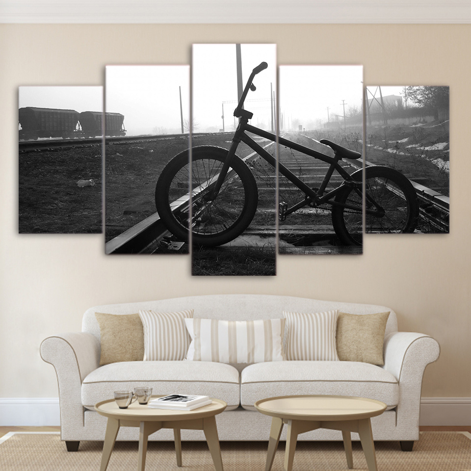 Wall Art Pictures Living Room Decor Bike Railway Track Posters 5 Pieces Bicycle Lane Black And White Canvas Paintings Framework