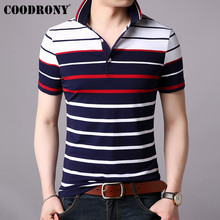 COODRONY Striped Top T Shirt Men Business Casual Turn-down Collar Mens 2019 Spring Summer Short Sleeve T-shirt S95021
