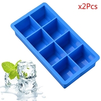 New Arrive 2Pcs Silicone Ice Cube Mould Freeze Mold Bar Pudding Jelly Chocolate Maker Mold 8