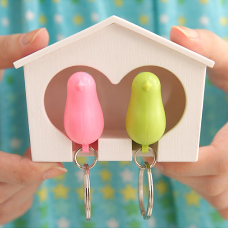 Creative Double Bird Nest Sparrow House Key Chain Ring Wall Hook Holders Keys Hanger Bird Whistle Storage Box Keyring For Keys