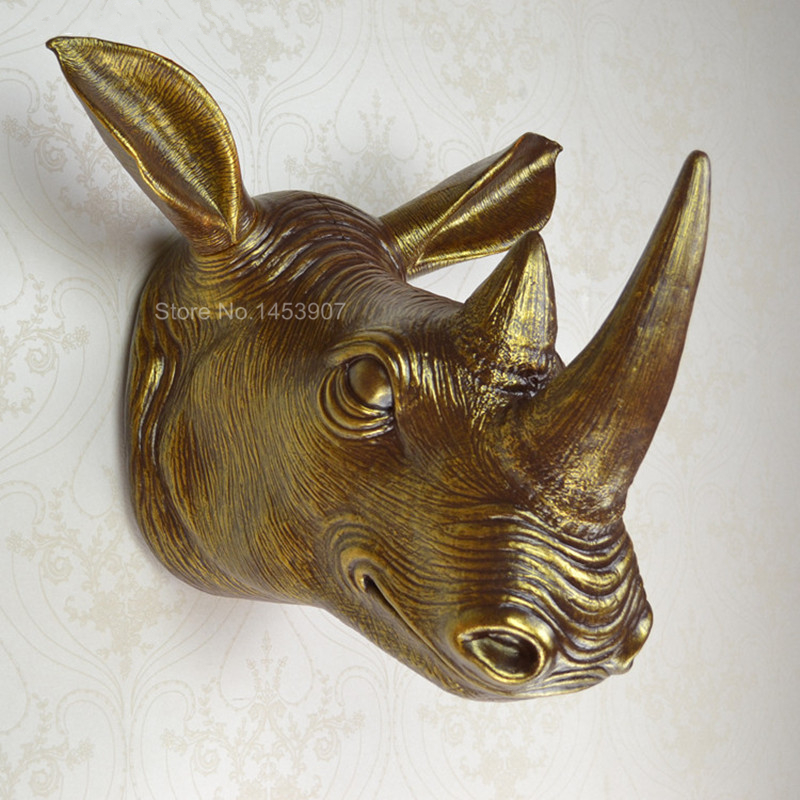 aliexpresscom buy handicraft home decoration plastic animal head wall hanging rhino fashion decoration african rhino head wall decor from reliable - Animal Head Wall Decor