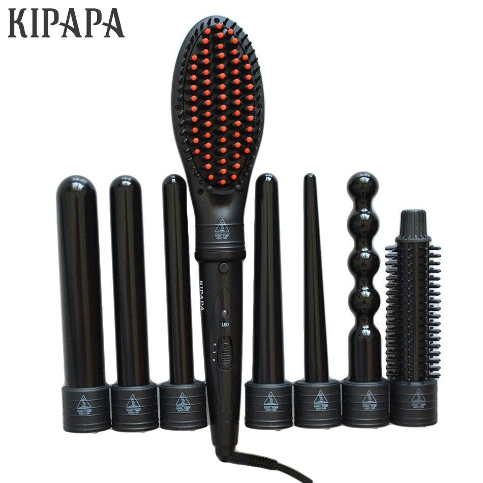 KIPAPA Ceramic Coating Curling Irons Interchangeable 8 Parts Clip Iron Hair Curler Set Straightener Brush Waver