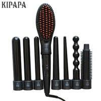 KIPAPA Seramik Kaplama Curling Ütüler Değiştirilebilir 8 Parça Klip Demir Saç Bigudi Seti Düzleştirici Fırça Waver Şekillendirici Aracı