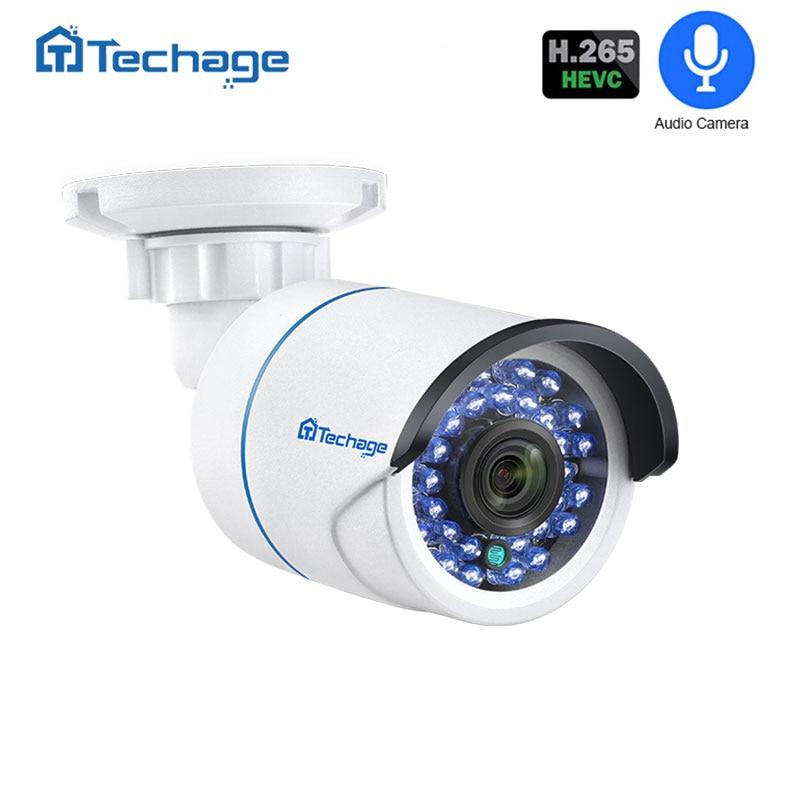 Techage H.265 1080P 2MP Surveillance IP POE Camera Audio Record Microphone IR Night Outdoor CCTV Video Security Camera ONVIF P2P