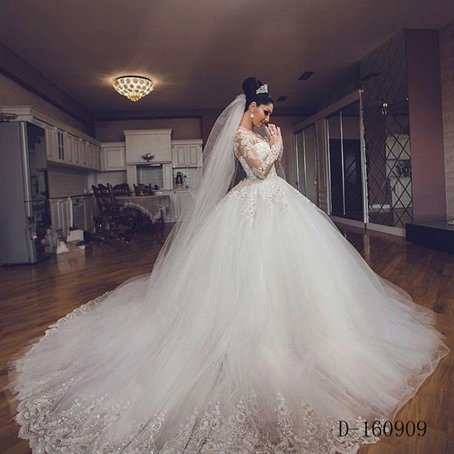 Vintage Muslim Long Sleeve Lace Wedding Dresses Wedding Ball Gowns ...