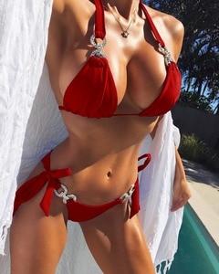 Image 2 - Sexy frauen Kristall Strass bikini bademode weibliche brasilianische biquini micro bikinis badeanzug tiny badeanzug für strand tragen
