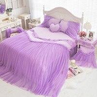 4/6/8 pcs Rosa azul roxo conjunto de cama rei rainha completa gêmeo 100% colcha de algodão/edredão cobrir lençóis de linho conjunto de cama para as meninas