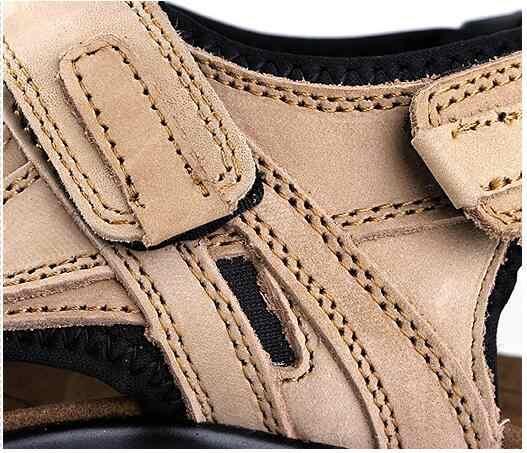 トップ品質のサンダル男性のサンダル夏の本革サンダル男性革サンダルプラスサイズ 46 47 48 m402