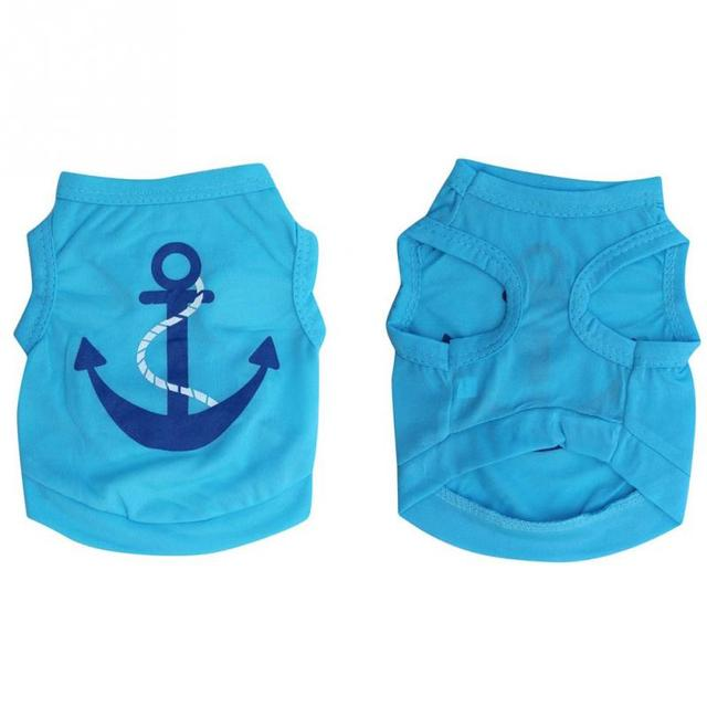 Hot Fashion Summer  Blue Summer Spring Pet Dog Puppy Clothes Apparel Cute Blue Anchor Cotton Shirt Vest