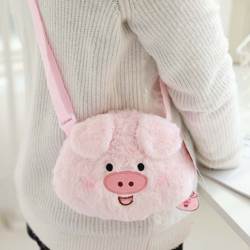 14cm*17cm Cute Pig Toys Stuffed Pig Plush Purse Plush messenger bag Baby Kids Bag Birthday Gifts for Girls New Year Toys image