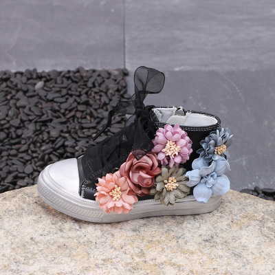 c32c139a13fd4 Kids Shoes Sweet Flower Girls Princess Shoes Childrens Shoes Fashion Mommy  & Baby Leather Shoes Sneakers Side Zipper Size 26 37#-in Sneakers from ...