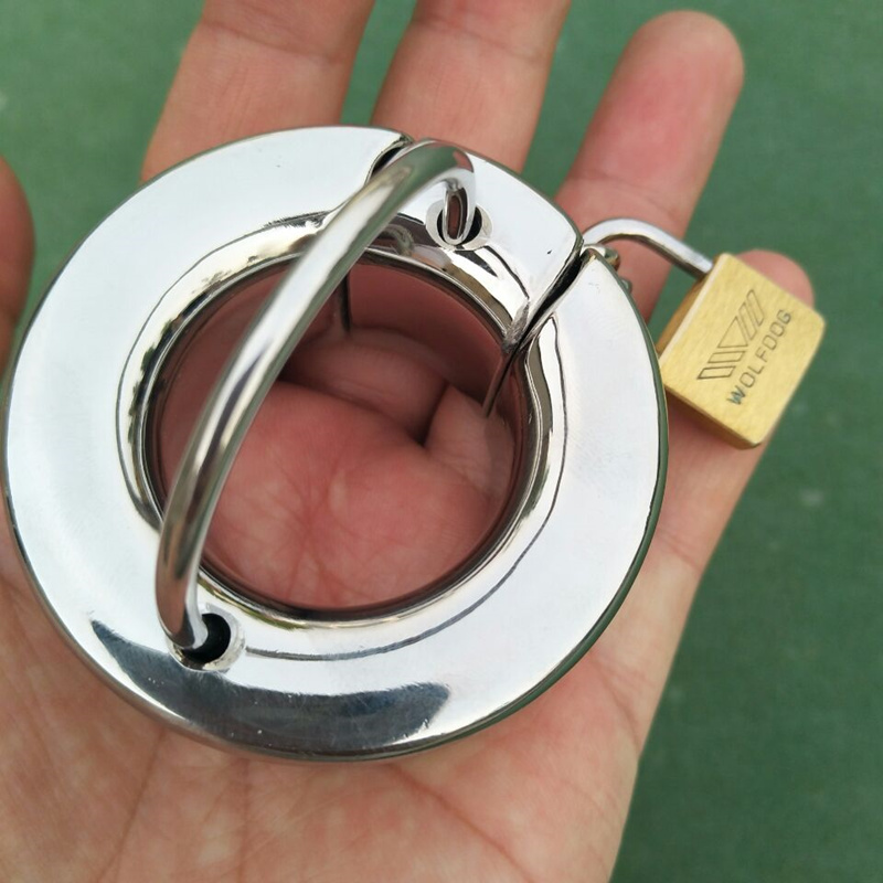 Top Stainless Steel Scrotum Pendant With Lock Penis Ring Chastity Devices Ball Stretcher Testicle Cock Ring  Sex Toy B2-81 weights testicle balls scrotum pendant stainless steel penis ring ball stretchers cock ring locking real men cbt sex product