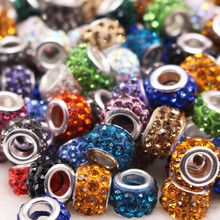 20Pcs/Lot New Hot Large Hole Multi-Color Rhinestone Beads Glass Bead Charms DIY Bracelet Necklace Earrings for Jewelry Making