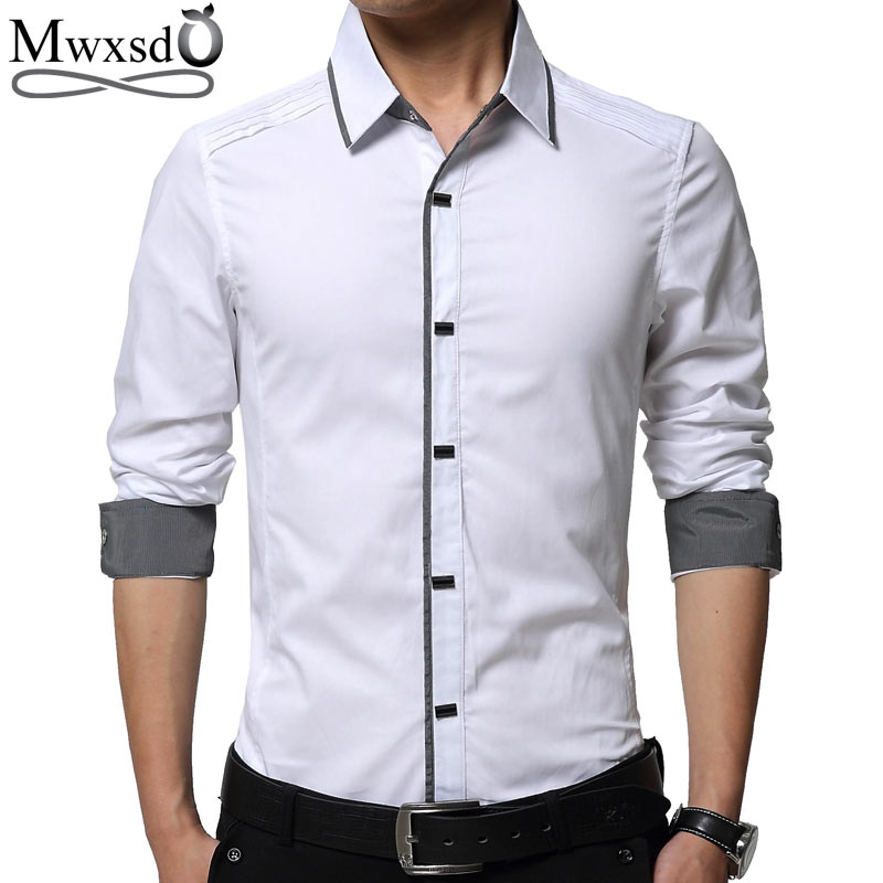 Mwxsd Camisa Dos Homens Vestido de marca de alta Qualidade dos homens Slim Fit camisa casual masculino camisa de algodão de Manga Longa Camisas tamanho grande 4xl chemise homme