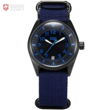 Shark Army Auto Date Display Black Stainless Steel Case Blue Nylon Strap Men Quartz Wrap Analog Military Sport Watches / SAW106
