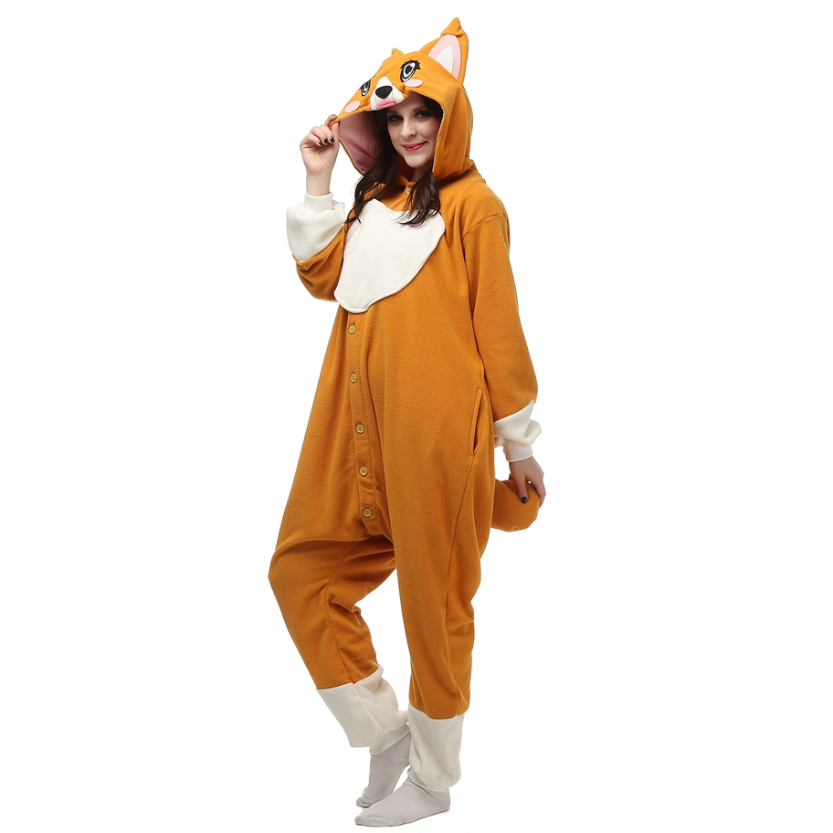 Big Eye Yellow Dog Animal Pajamas Onesie For Adults Couple Women Unisex Sleepwear Hooded Fleece Pijamas LTY58