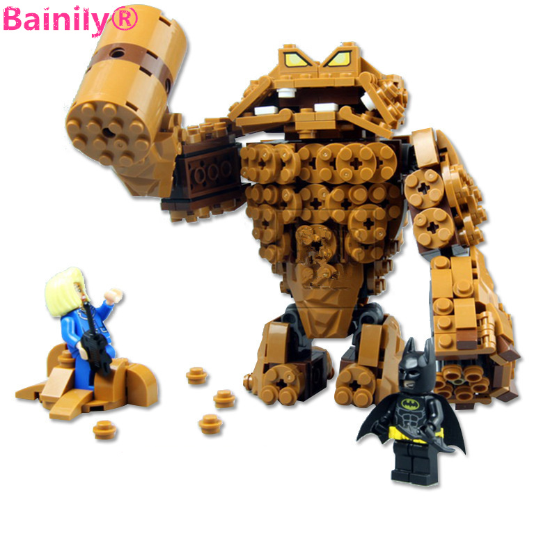 [Bainily]Batman Movie Series The Rock Clayface Splat Attack Building Blocks Bricks Toys Compatible with LegoINGlys batman hc9009 1650pcs pikachu cartoon movie series without original box building blocks diamond bricks toys compatible with loz