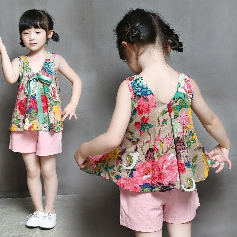 Summer Children Clothing Girls Suit Sling Strap Tops+ Short Pants Floral Print Top Solid Shorts Kids Set FJ88 стул coleman summer sling 205147