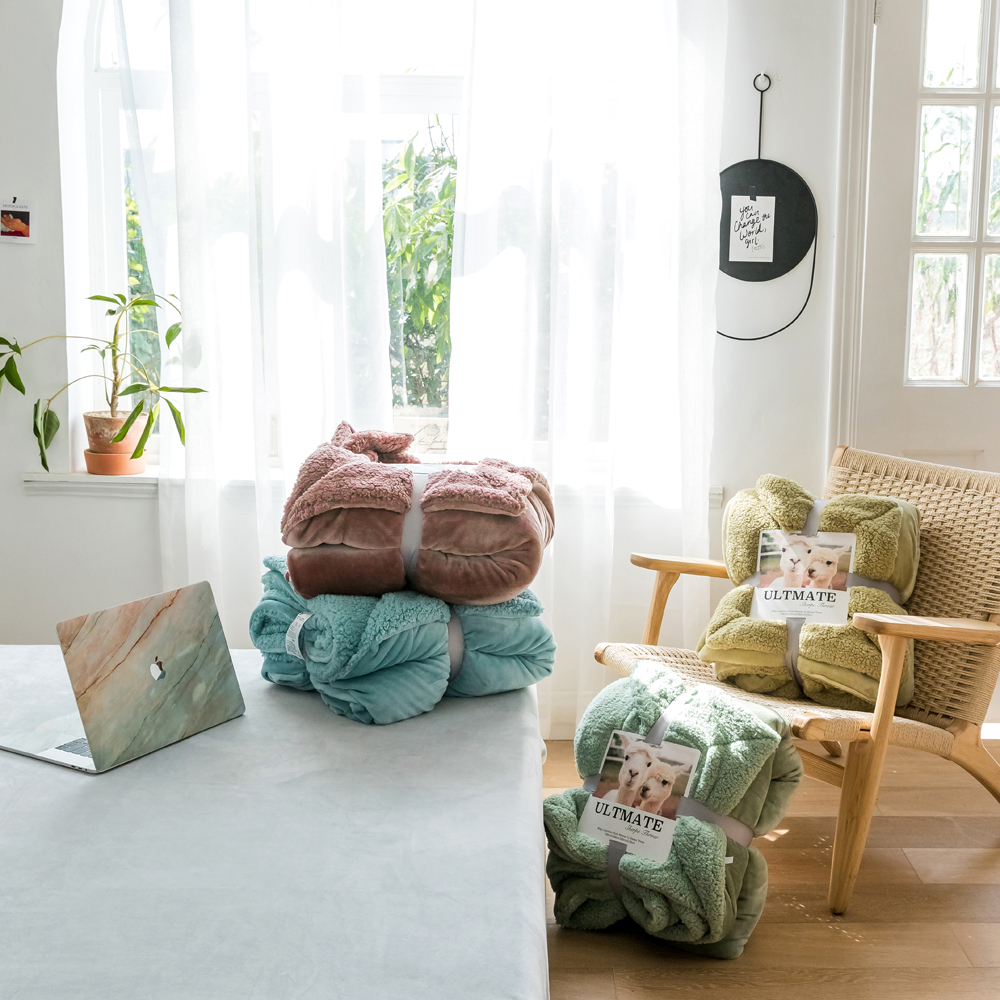 Papa&Mima Solid color Soft Winter Blankets 100% Polyester Fiber Double Face Bedsheets Linens 150x200cm 200x230cm