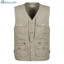 Grandwish 100% Cotton Multi Pocket Vest Men Summer  New Male Sleeveless Jacket Mens Photographer Baggy Waistcoat ,DA746