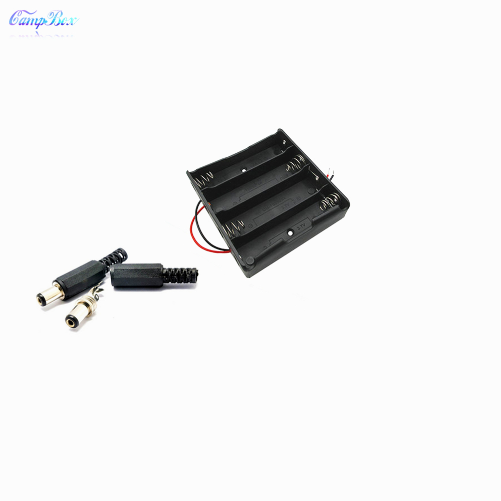 50Pcs 4x18650 Battery Case Holder Socket Wire Junction Box With 15cm Wires 5 5 2 1