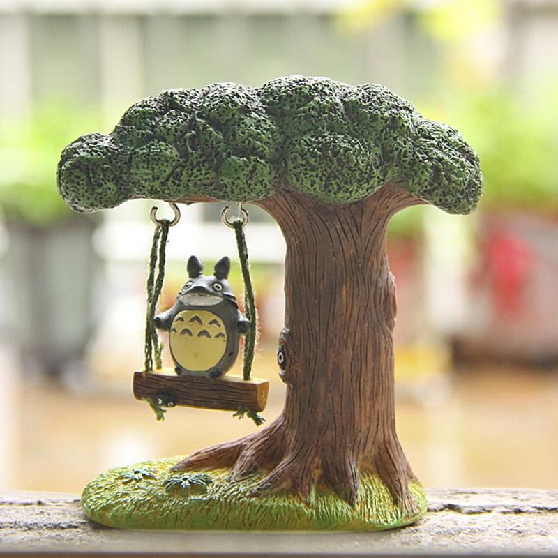 Estúdio ghibli totoro figura diy miyazaki meu vizinho totoro balanço árvore resina figura de ação brinquedo clássico modelo brinquedos para decoração de casa