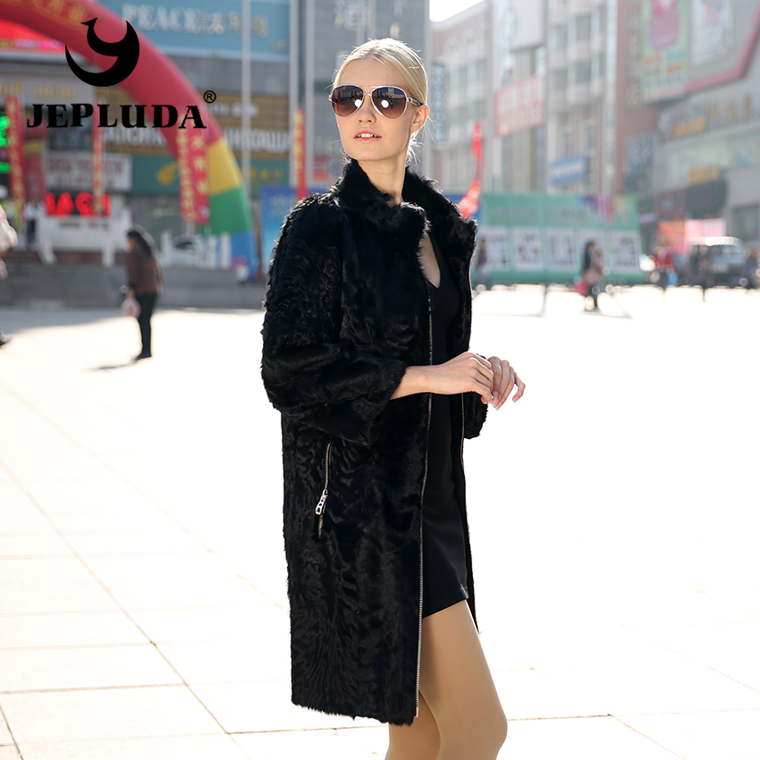 JEPLUDA Real Fur Coats Women Winter Sheepskin Fur Coat warm long classical genuine Lamb Fur Outwear Women Winter Jacket Women