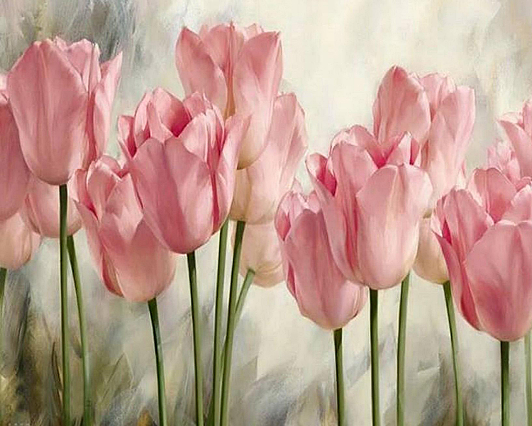 3D Diy Diamond Painting Pink Tulip Flowers Cross Stitch Kits Resin Painting Full Square Drill Needlework Mosaic Home Decor