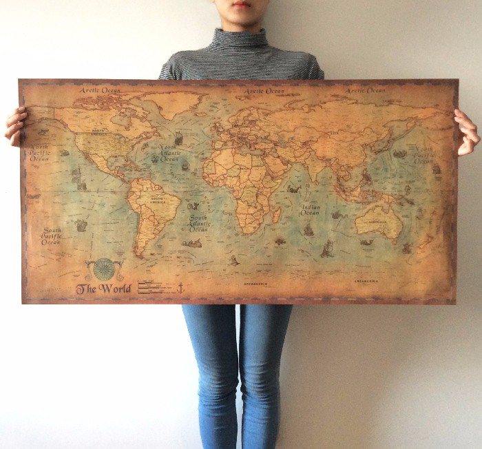 ימית הים האוקיינוס העולם המפה רטרו אולד אמנות נייר ציור קיר בית דקור מדבקה סלון חדר פוסטר קפה פוסטר 100x50cm