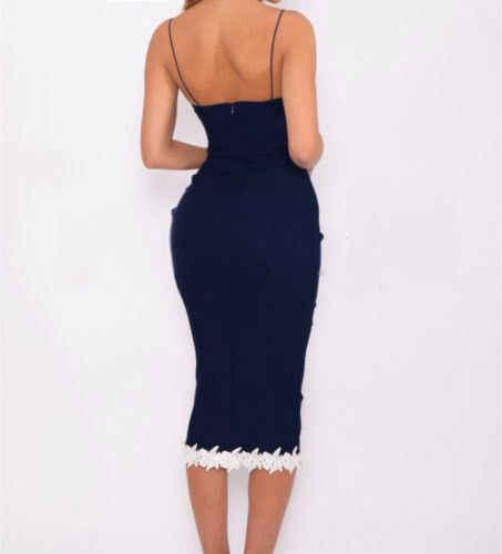 Kiểu dáng thời trang Bán Gợi Cảm Nữ Sling Cổ Chữ V Highwaist Không Tay Phối Ren Hoa Đầm Ôm Nữ Đảng Bi Thanh Lịch Đầm Bút Chì S-XL