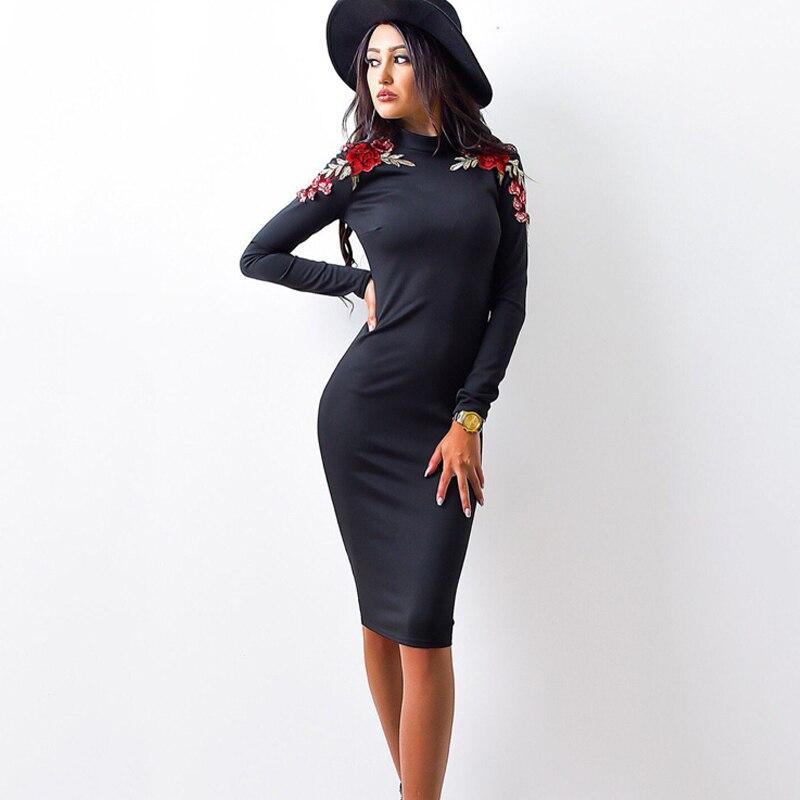 осень 2017 г. модные женские туфли плотное платье повседневное круглым вырезом длинные рукава аппликации платья для женщин сексуальная бинты bodycon платье по колено платье карандаша