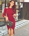 2016 Женский Сексуальный Свитер Dress Cut Out Плеча С Длинным Рукавом Ребристые Wrap Bodycon Осень Зима Hi-Low Midi Dress Vestidos