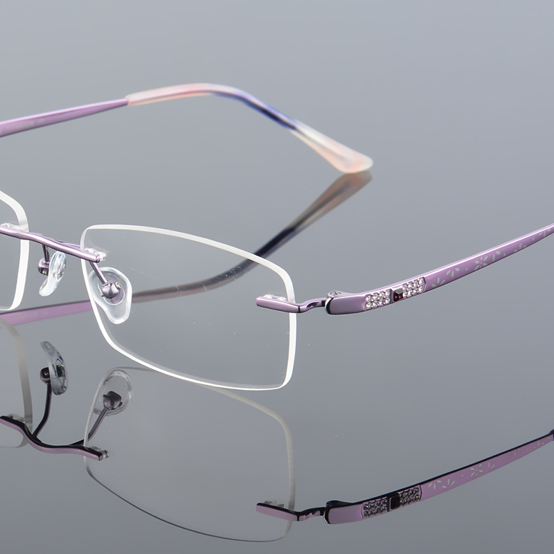 2017 XINZE New Pure Titanium Fashionable Lady Eye Glasses Diamonds - Kläder tillbehör - Foto 2