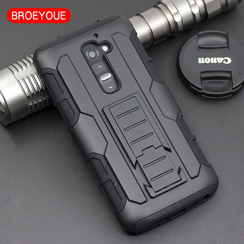 BROEYOUE Case For LG G2 D802 D805 D801 D800 D803 LS980 Armor Impact Holster Shockproof Hard Cases for LG Optimus G2 Back Cover
