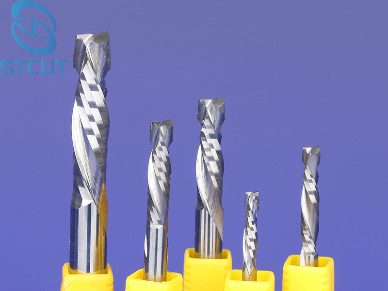 2pc SHK 3.175/4/5 UP &DOWN Cut Two Flutes Spiral Carbide Mill Tool Cutters for CNC Router, Compression Wood End Mill Cutter Bits