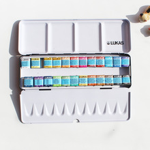 Free shipping New product LUKAS artist level 24 color senior soid watercolor paint iron box suit