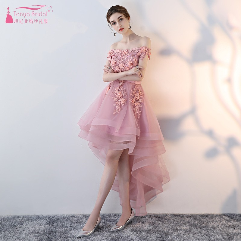 Dusty Pink Boat Neck Short Sleeves Lace Flowers   Bridesmaid     Dresses   High Low Sexy Wedding Party   Dress   Gown Formal   Dress   JQ123