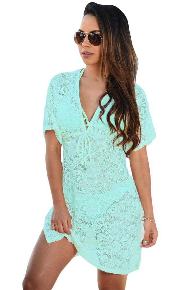 Bluish-Green-See-through-Lace-Cover-Up-Dress-LC42054-9-1