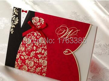 set of 20 black red wedding invitation bride gown groom tuxedo embossed wedding invite cards party