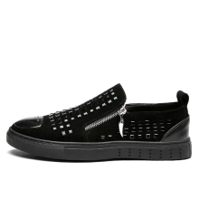 Men Dark Shoes Gothic Style Steampunk Retro Vintage Zip Glitter Shining Toe Caps Zipper Metalic Male Canvas Slip Ons Suede Cool