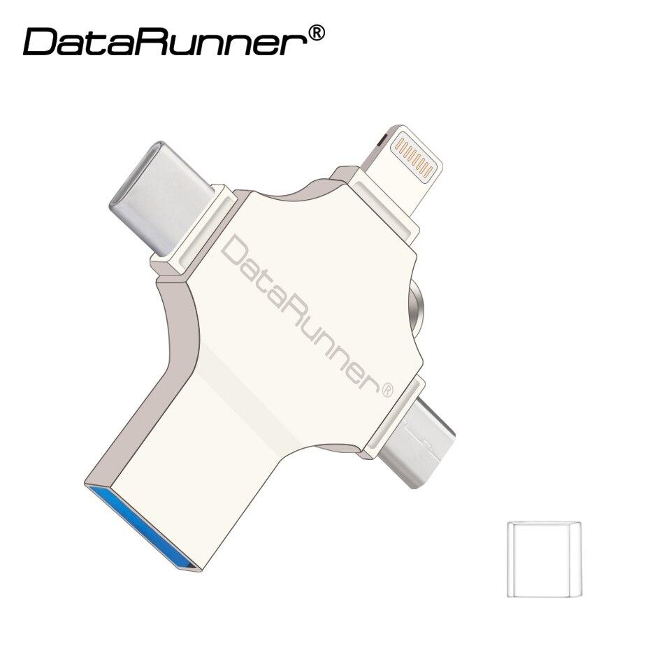 DataRunner 4 In 1 Design Usb Flash Drive 128GB Usb Stick 3.0 OTG Pen Drive 16GB 32GB 64GB Cle Usb 3.0 Flash Disk Pendrive