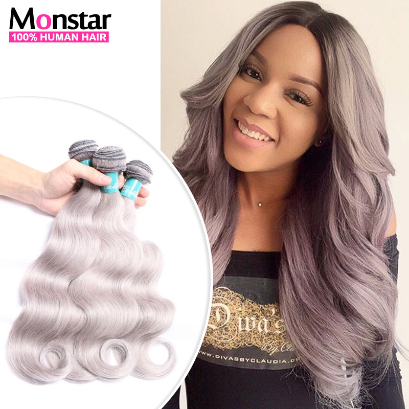 Gray weave human hair images hair extension hair highlights ideas gray weave brazilian human hair body wave grey hair extension 3 gray weave brazilian human hair pmusecretfo Images